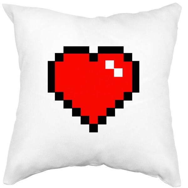 Подушка белая Пиксельное сердце
