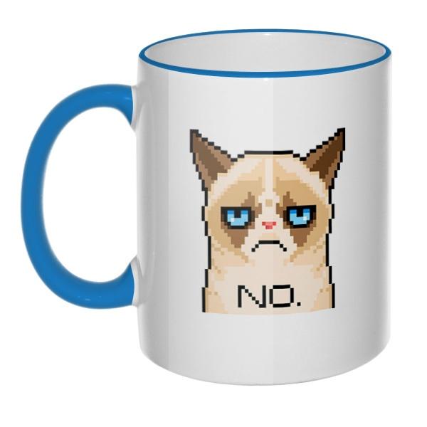 Кружка Сердитый кот (пиксельный) с цветным ободком и ручкой