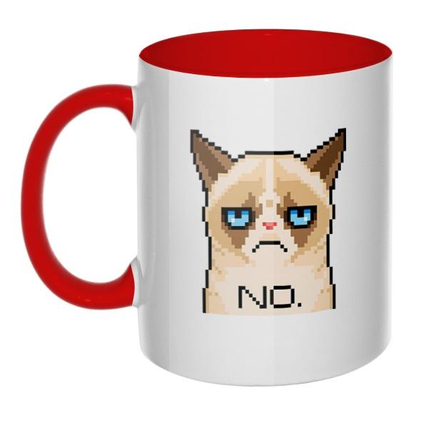 Сердитый кот (пиксельный), кружка цветная внутри и ручка