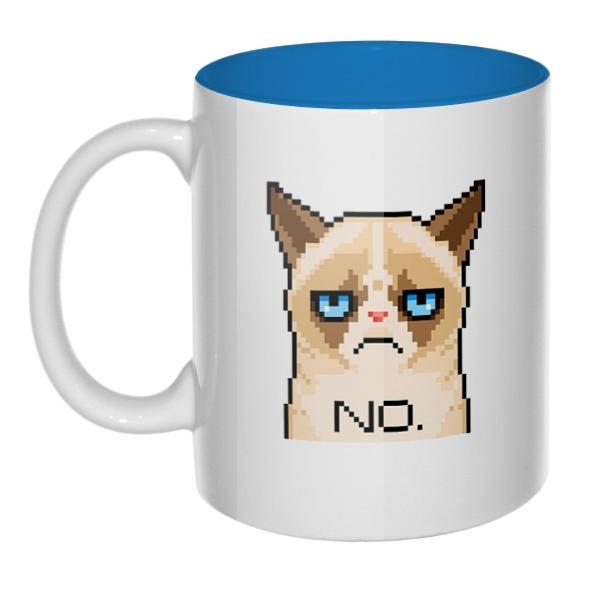 Сердитый кот (пиксельный), кружка цветная внутри