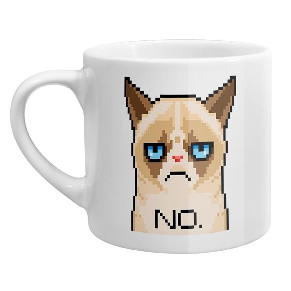 Кофейная чашка Сердитый кот (пиксельный)