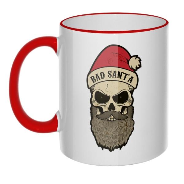 Кружка Bad Santa с цветным ободком и ручкой