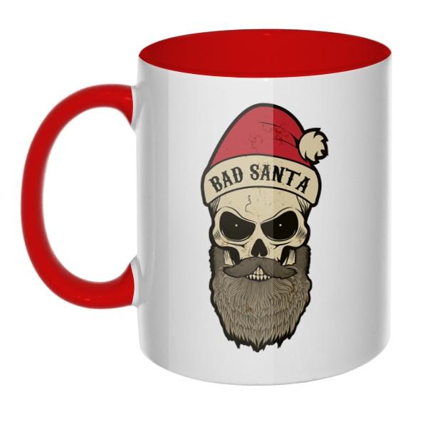 Кружка Bad Santa цветная внутри и ручка