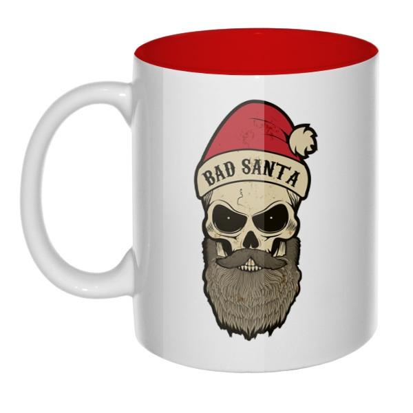 Кружка цветная внутри Bad Santa, цвет красный