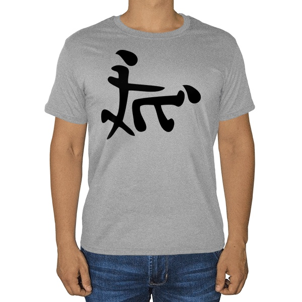 Иероглиф Секс, серая футболка (меланж)