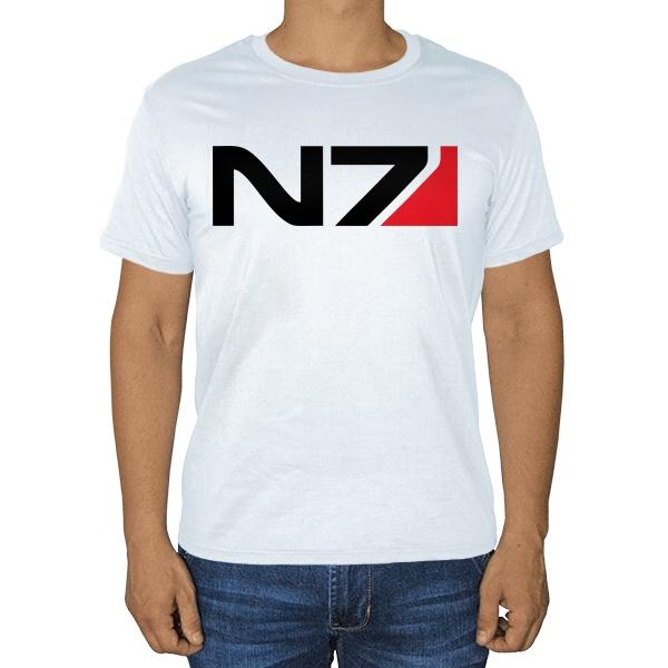 Белая футболка N7, цвет белый
