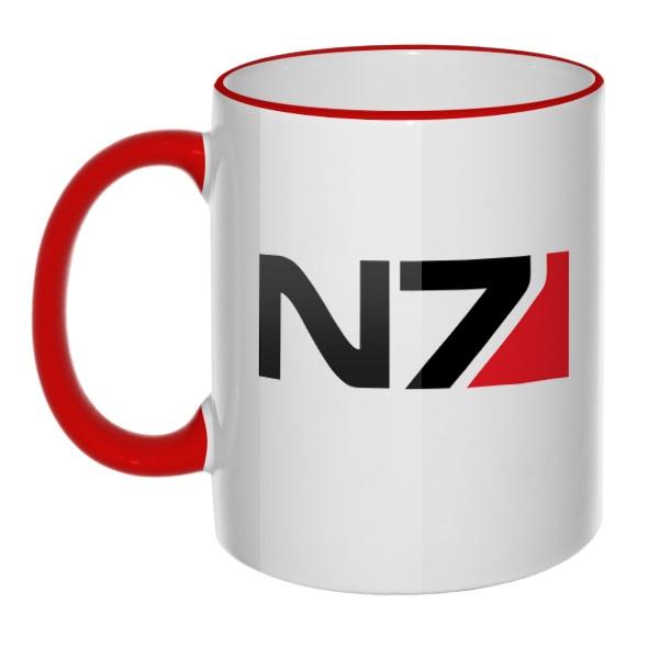 Кружка N7 с цветным ободком и ручкой
