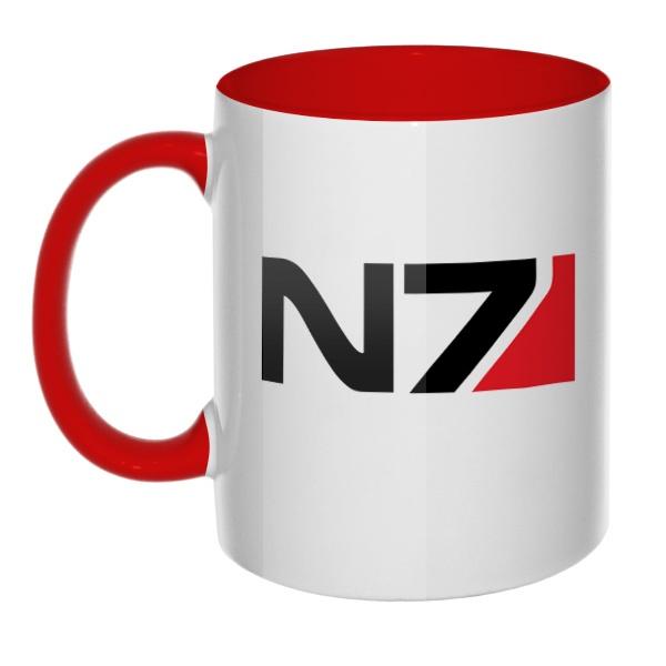 Кружка N7 цветная внутри и ручка