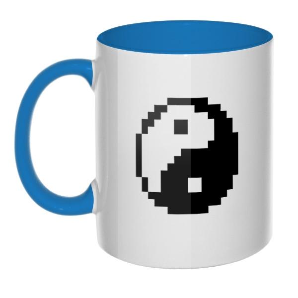 Пиксельный Инь Ян, кружка цветная внутри и ручка