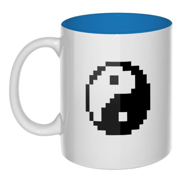 Пиксельный Инь Ян, кружка цветная внутри