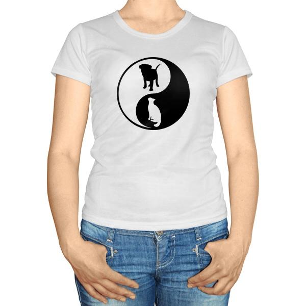 Женская футболка Собака и кошка Инь Ян