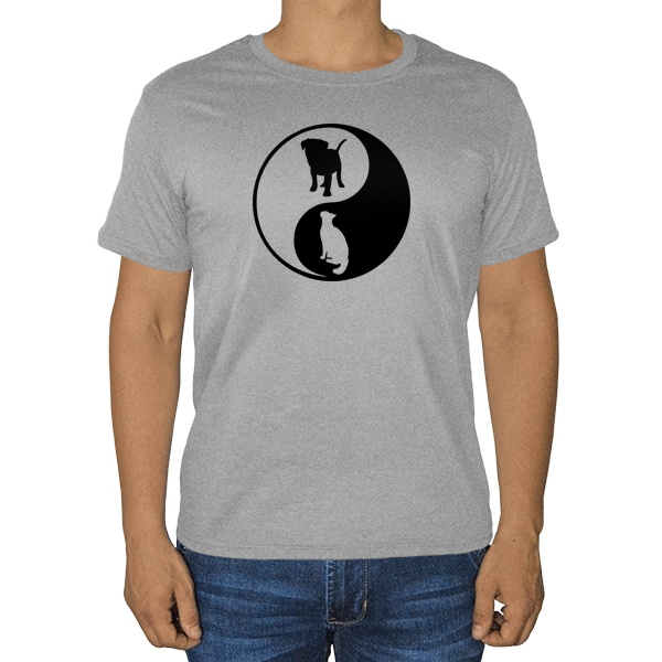 Собака и кошка Инь Ян, серая футболка (меланж)