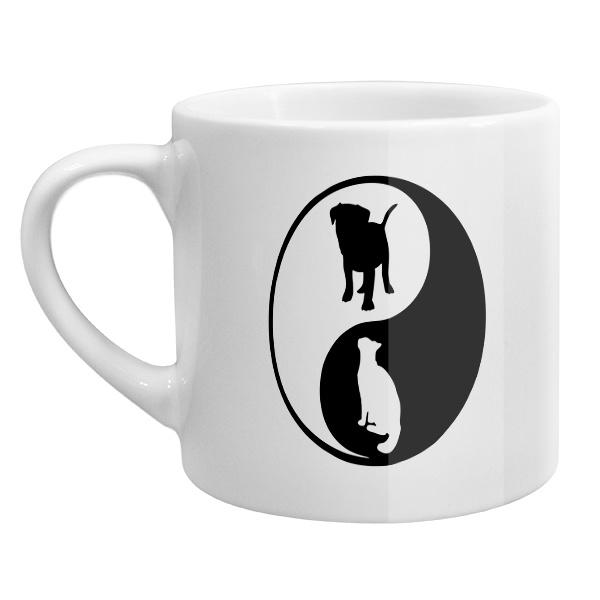 Кофейная чашка Собака и кошка Инь Ян