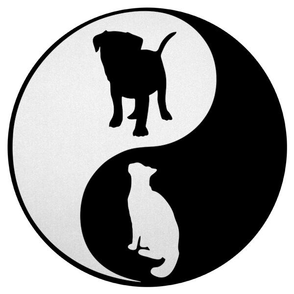 Круглый коврик для мыши Собака и кошка Инь Ян