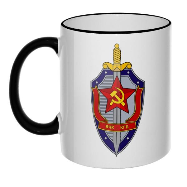 Кружка ВЧК КГБ с цветным ободком и ручкой, цвет черный