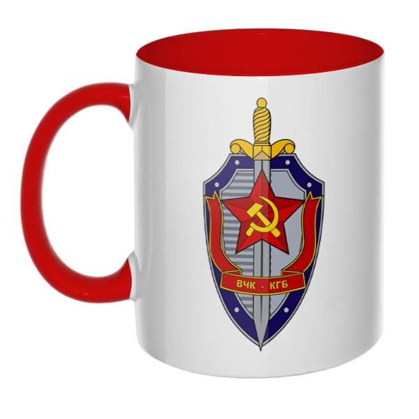 Кружка ВЧК КГБ цветная внутри и ручка