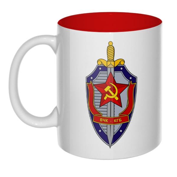 Кружка цветная внутри ВЧК КГБ, цвет красный