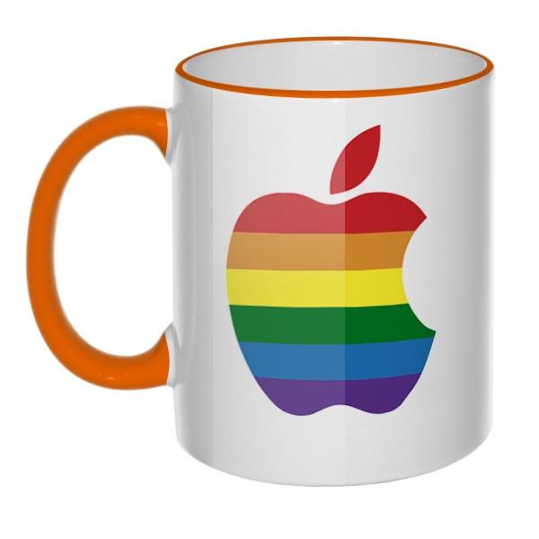 Кружка Apple Rainbow с цветным ободком и ручкой