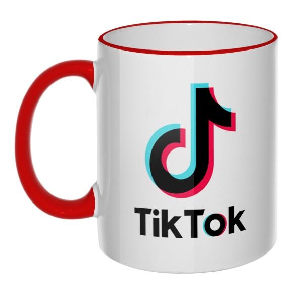 Кружка Tik Tok с цветным ободком и ручкой