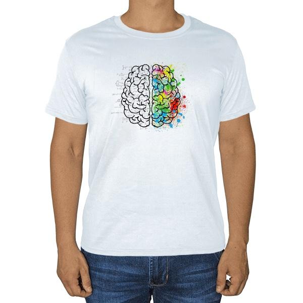 Полушария мозга, белая футболка