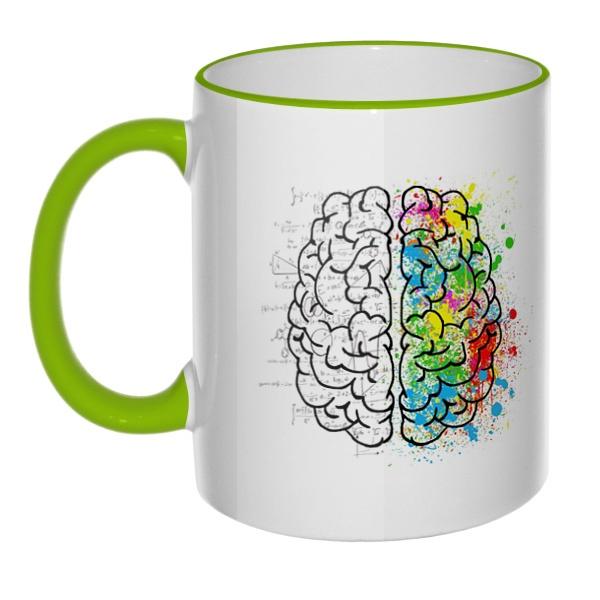 Кружка Полушария мозга с цветным ободком и ручкой