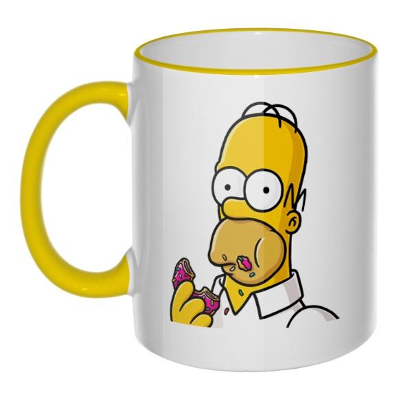 Кружка Гомер Симпсон с цветным ободком и ручкой, цвет желтый