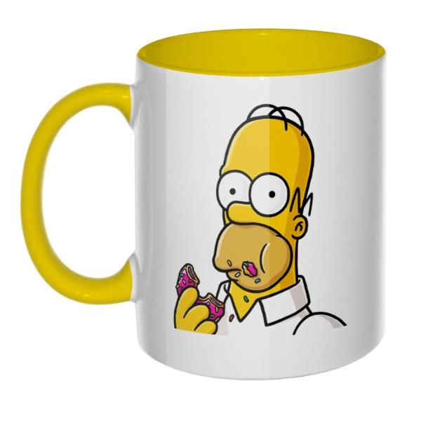 Кружка Гомер Симпсон цветная внутри и ручка