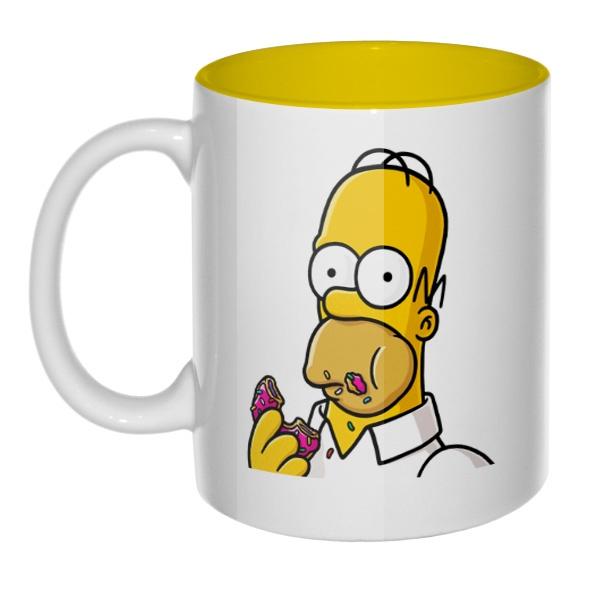 Кружка цветная внутри Гомер Симпсон