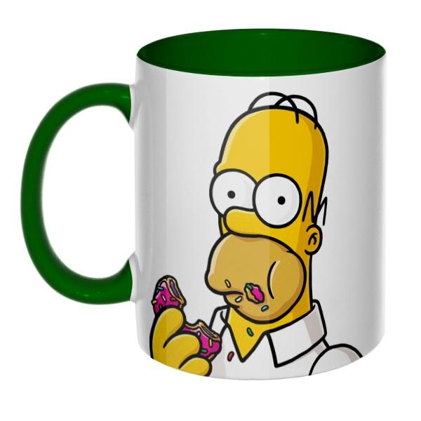3D-кружка Гомер Симпсон цветная внутри и ручка, цвет зеленый