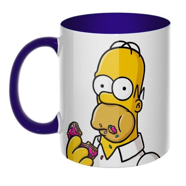 3D-кружка Гомер Симпсон цветная внутри и ручка, цвет темно-синий