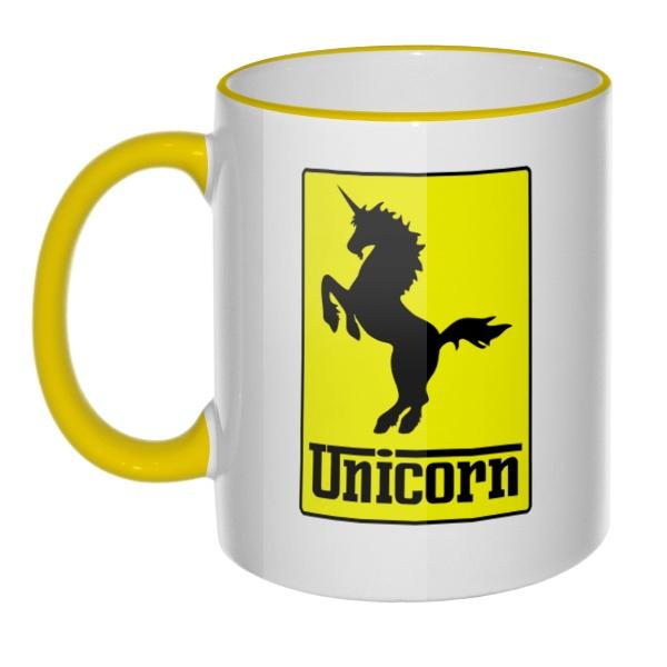 Кружка Unicorn (стилизация Ferrari) с цветным ободком и ручкой