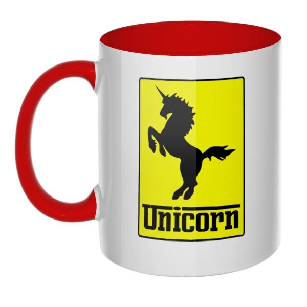 Кружка Unicorn (стилизация Ferrari) цветная внутри и ручка