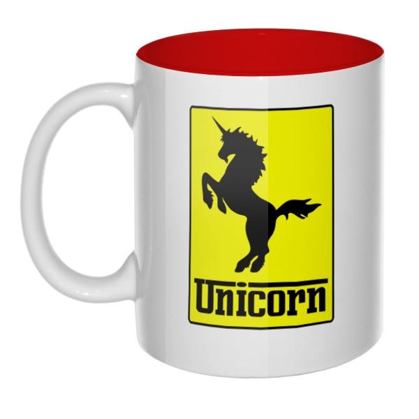 Кружка цветная внутри Unicorn (стилизация Ferrari)
