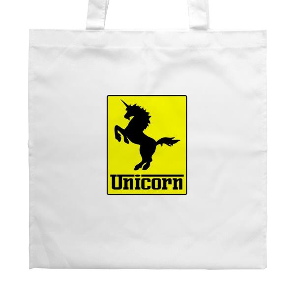 Белая сумка Unicorn (стилизация Ferrari), цвет белый