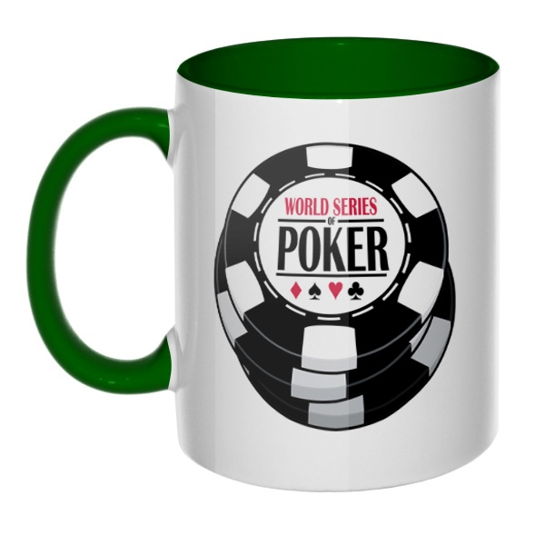 Кружка World Series of Poker цветная внутри и ручка, цвет зеленый