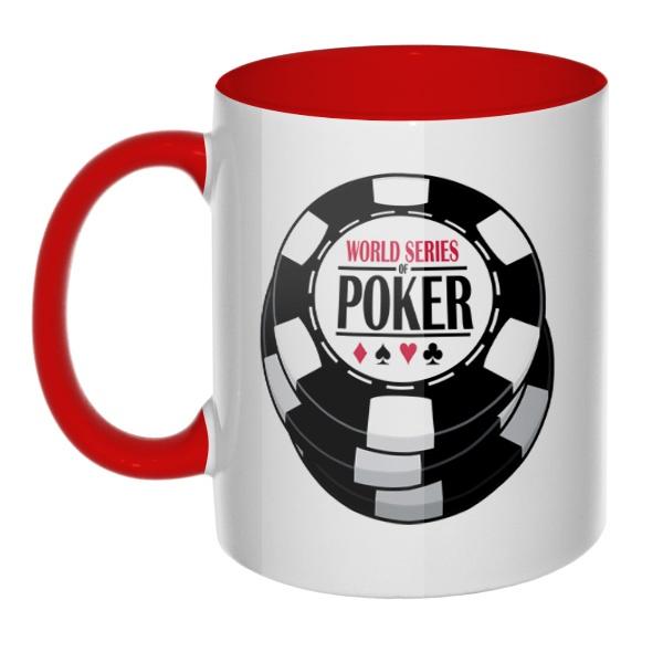 Кружка World Series of Poker цветная внутри и ручка