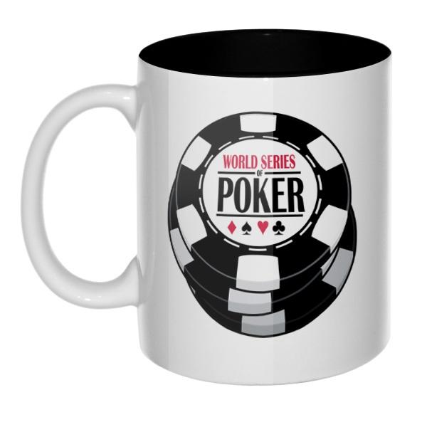 Кружка цветная внутри World Series of Poker, цвет черный