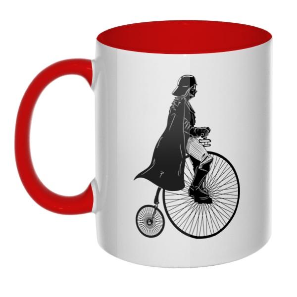 Дарт Вейдер на велосипеде, кружка цветная внутри и ручка