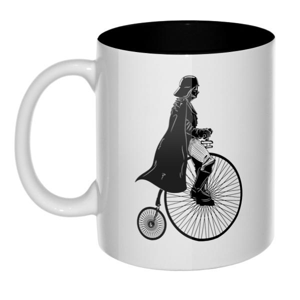 Дарт Вейдер на велосипеде, кружка цветная внутри