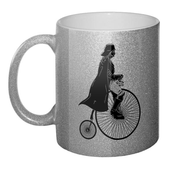 Кружка блестящая Дарт Вейдер на велосипеде