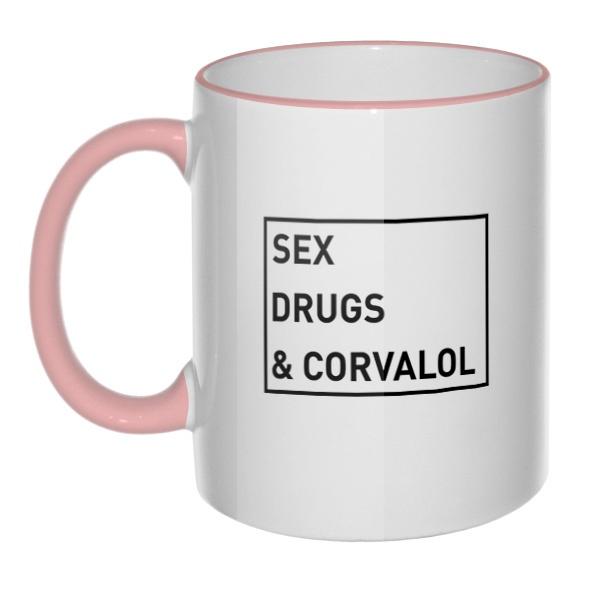 Кружка Sex, drugs and corvalol с цветным ободком и ручкой