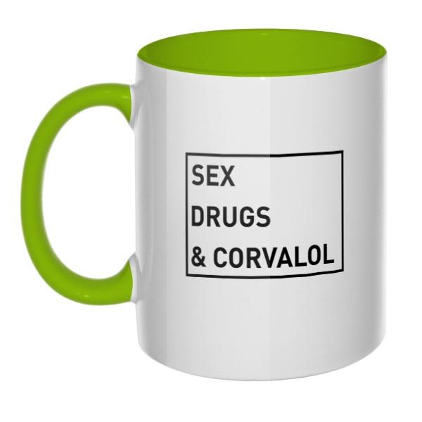 Sex, drugs and corvalol, кружка цветная внутри и ручка