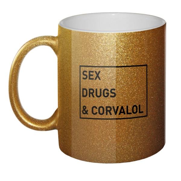 Кружка блестящая Sex, drugs and corvalol