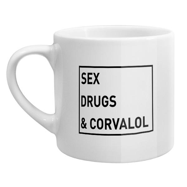 Кофейная чашка Sex, drugs and corvalol