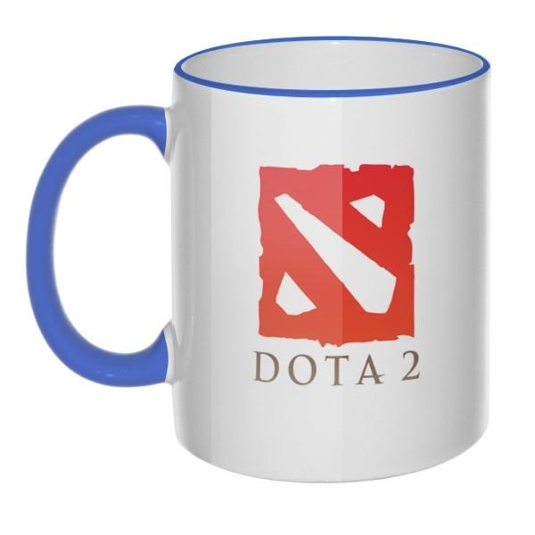 Кружка Dota 2 с цветным ободком и ручкой, цвет лазурный