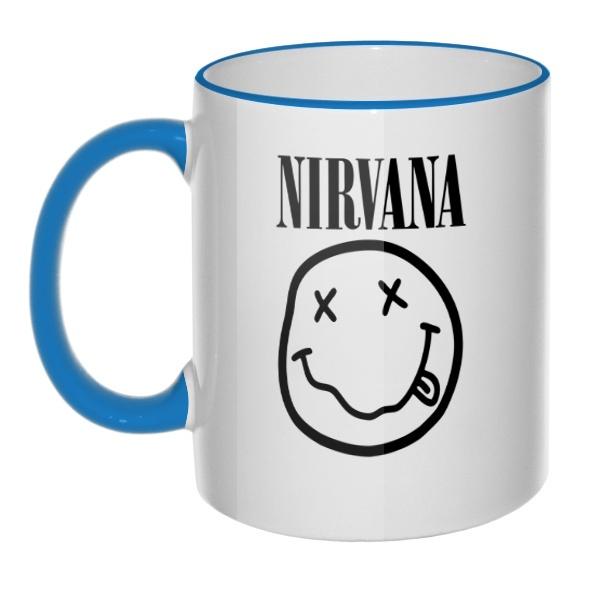 Кружка Nirvana с цветным ободком и ручкой, цвет голубой