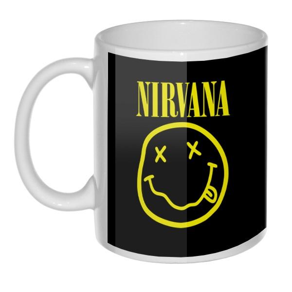 Кружка Nirvana (желтый принт на черном фоне)