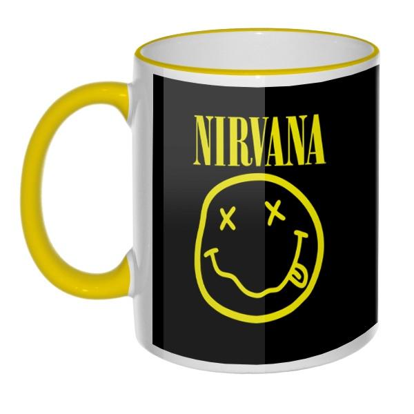 Кружка Nirvana (желтый принт на черном фоне) с цветным ободком и ручкой