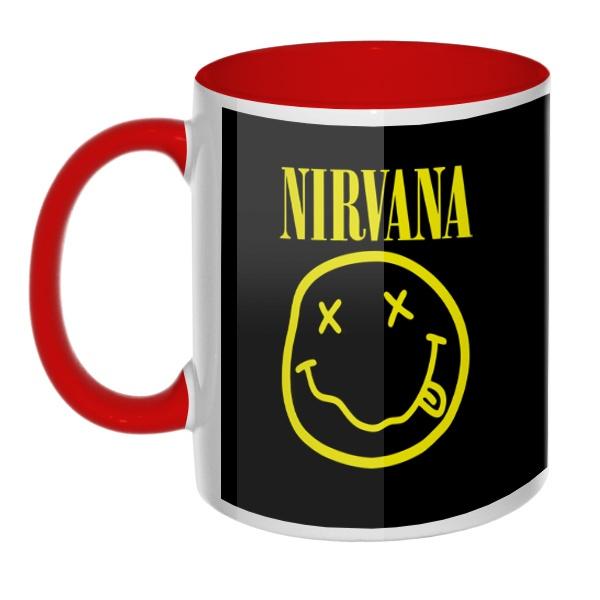 Кружка Nirvana (желтый принт на черном фоне) цветная внутри и ручка