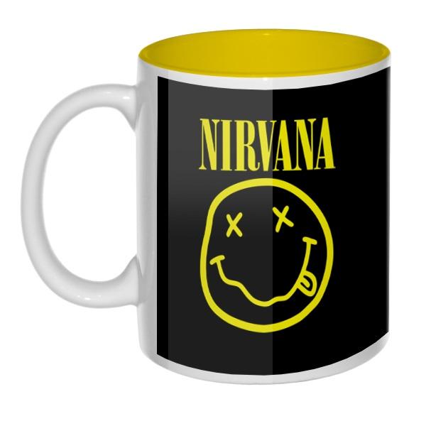 Кружка цветная внутри Nirvana (желтый принт на черном фоне), цвет желтый